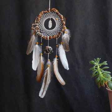 Ligth dream catchers wall, earthy vibes, Sacred space, healing gift relax