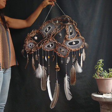 Large White Dream Catchers, Nature's Own decoration, Set of 6 dream catchers in a single willow structure, customizable semi-precious stones