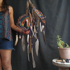 Double Dreamcatcher Three-Dimensional Rainbow with Natural Feathers and Semiprecious