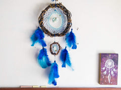 Boho Home Decor, Blue Dream Catcher, Turquoise Wall Hanging, Chakras Dream Catcher