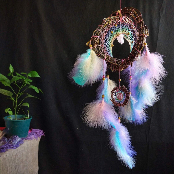 3D dreamcatcher orb, pastel rainbow , three dimensional ceiling mobile