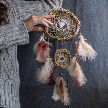 Earthy decor, Dreamcatcher boho Terracotta Nursery Art, earth tones wall hanging, spiritual art