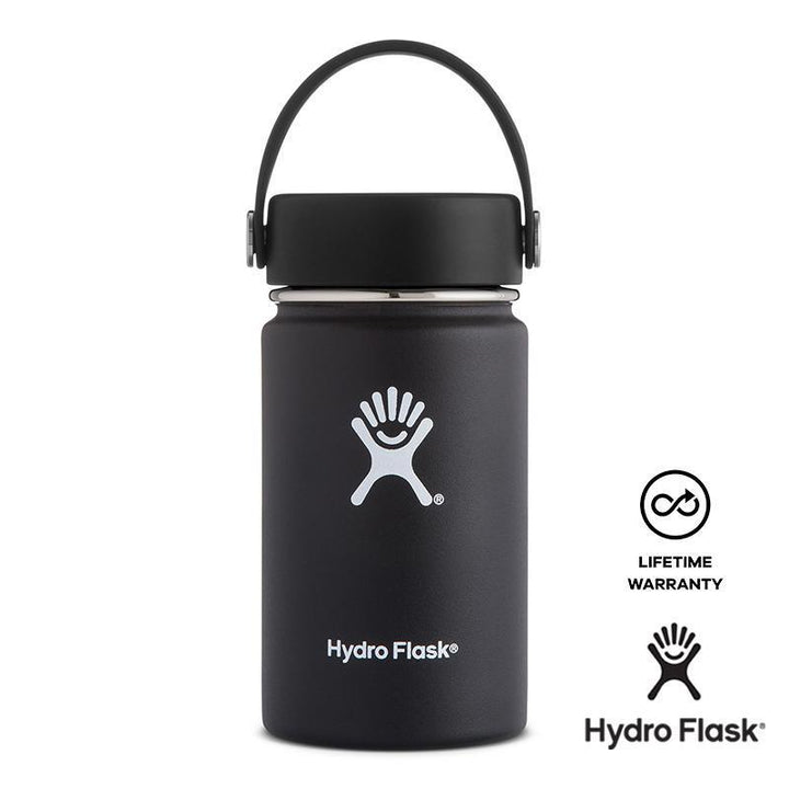 Hydro Flask - 12 oz Vacuum Insulated Stainless Steel Sports Water Bottle Wide Mouth - Black