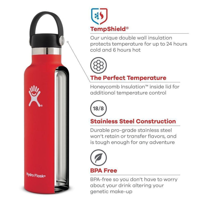 Hydro Flask - 18oz Double Wall Vacuum Insulated Stainless Steel Sports Water Bottle Standard Mouth Hydroflask