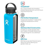 Hydro Flask 32 oz Vacuum Insulated Stainless Steel Sports Water Bottle Wide Mouth - Blueberry