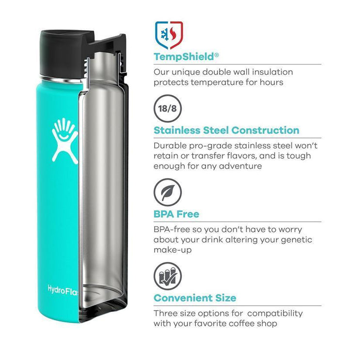 Hydro Flask - 12 oz Insulated Stainless Steel Sports Water Bottle Wide Mouth W/Flip Lid - Black