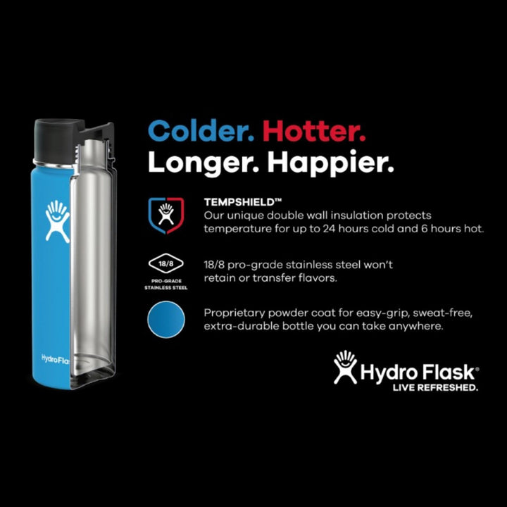 Hydro Flask - 18 oz Vacuum Insulated Stainless Steel Sports Water Bottle Wide Mouth - Black