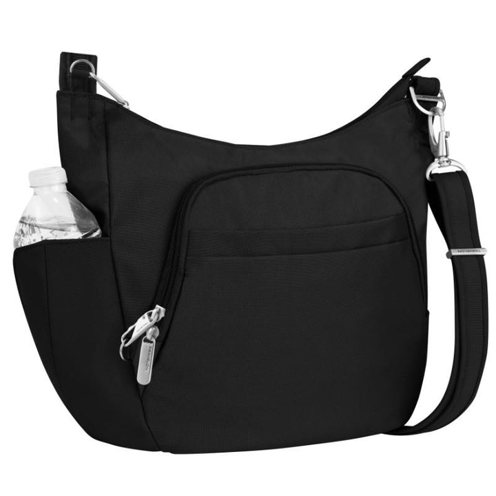 travelon anti theft classic crossbody bucket bag black image 1