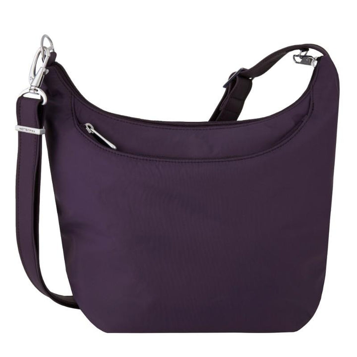 travelon anti theft classic light slouch hobo purple image 1
