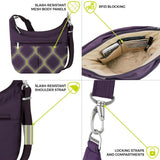 travelon anti theft classic light slouch hobo purple image 4