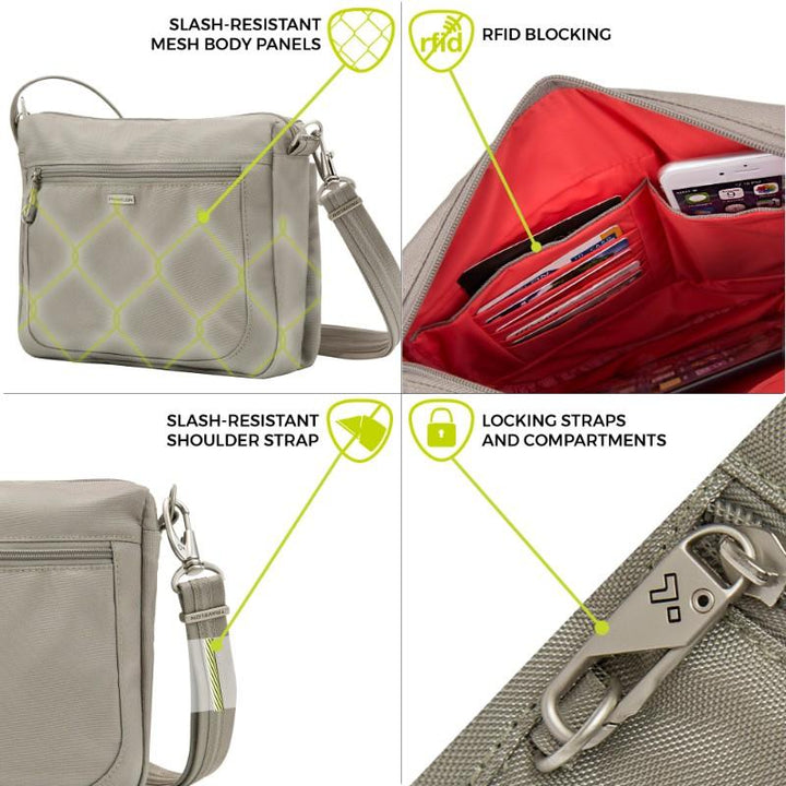 travelon anti theft classic small e/w crossbody stone image 5