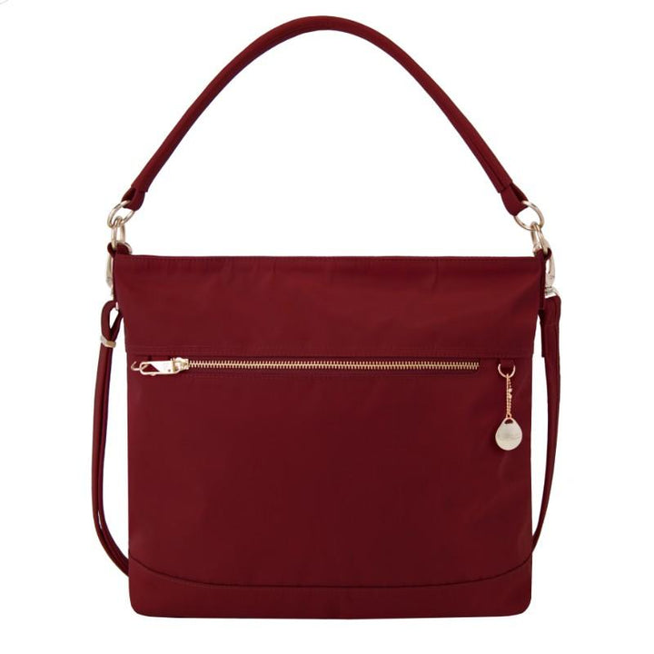 travelon anti theft tailored tote garnet image 1