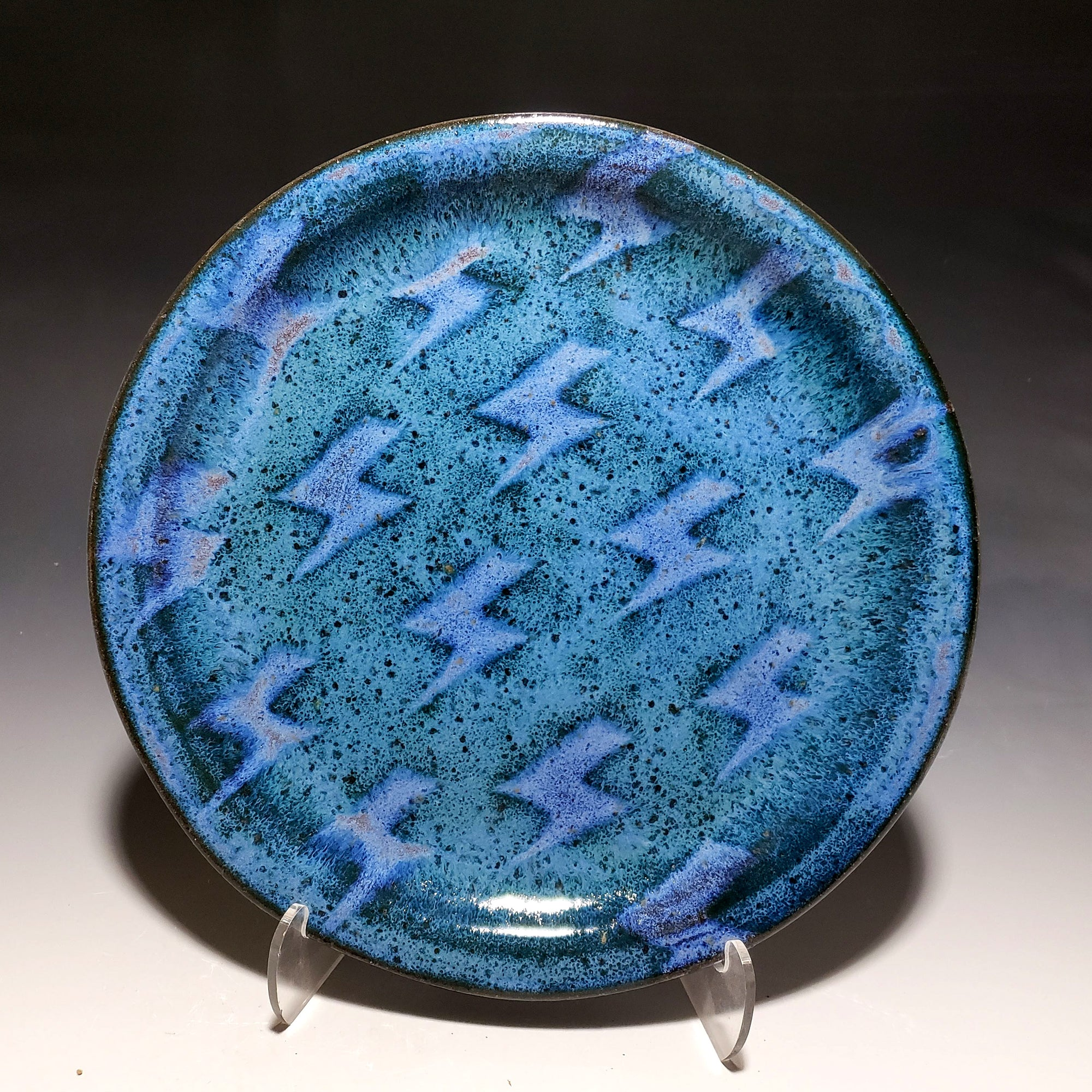 Blue Lightning Sandwich Plate
