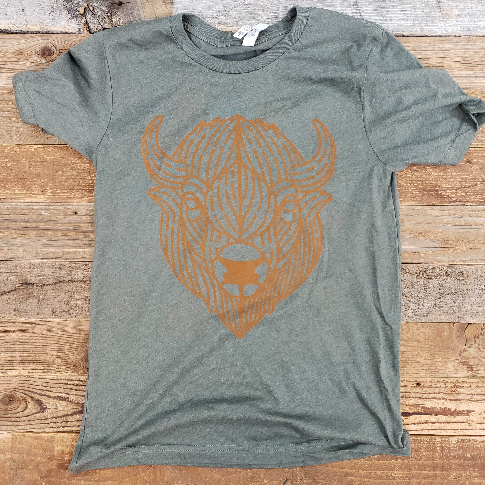 Burn Orange Bison Green T