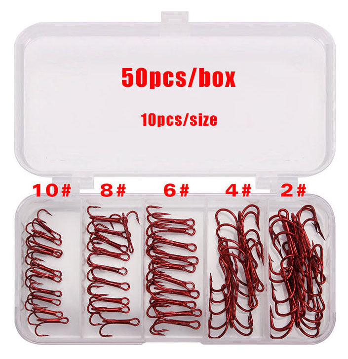 50 PIECE High Carbon Steel TREBLE Fishing Hook