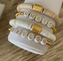 Load image into Gallery viewer, White and Gold Custom Word Bracelet