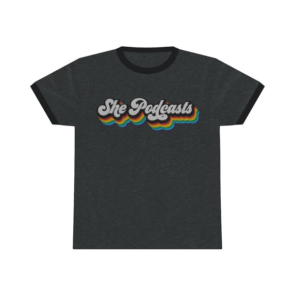 She Podcasts Rainbow Logo - Unisex Ringer Tee