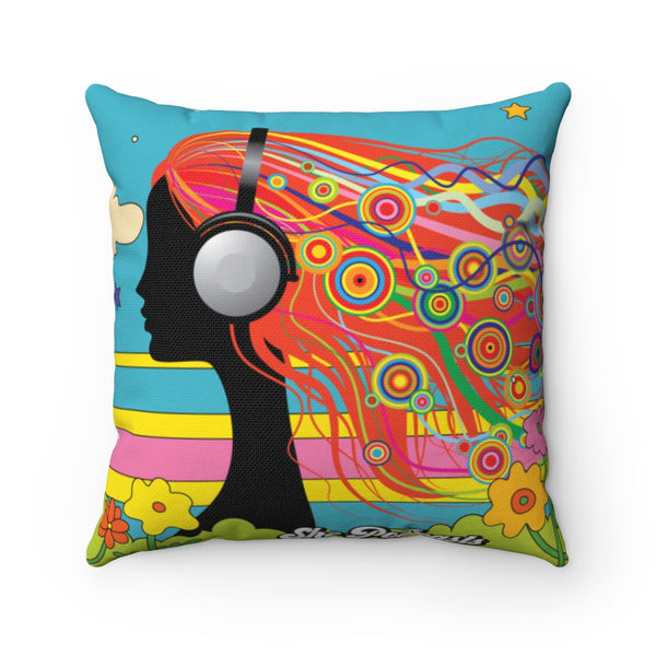 Lovely Day - Spun Square Pillow - She Podcasts Shop - Podcaster Merchandise