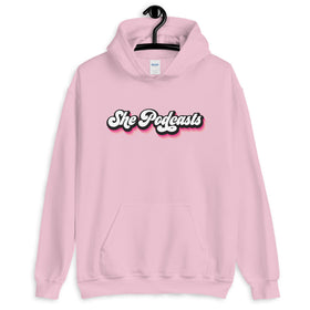 She Podcasts Logo Pink Hoodie