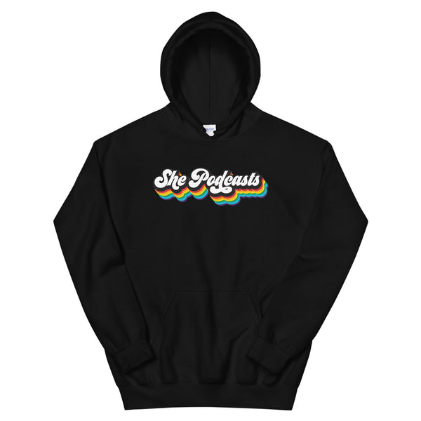 She Podcasts Logo Rainbow Hoodie
