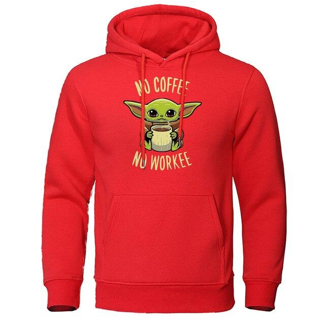 Sweat à capuche Pull No Coffee No Workee The Mandalorian Bébé Yoda Rouge
