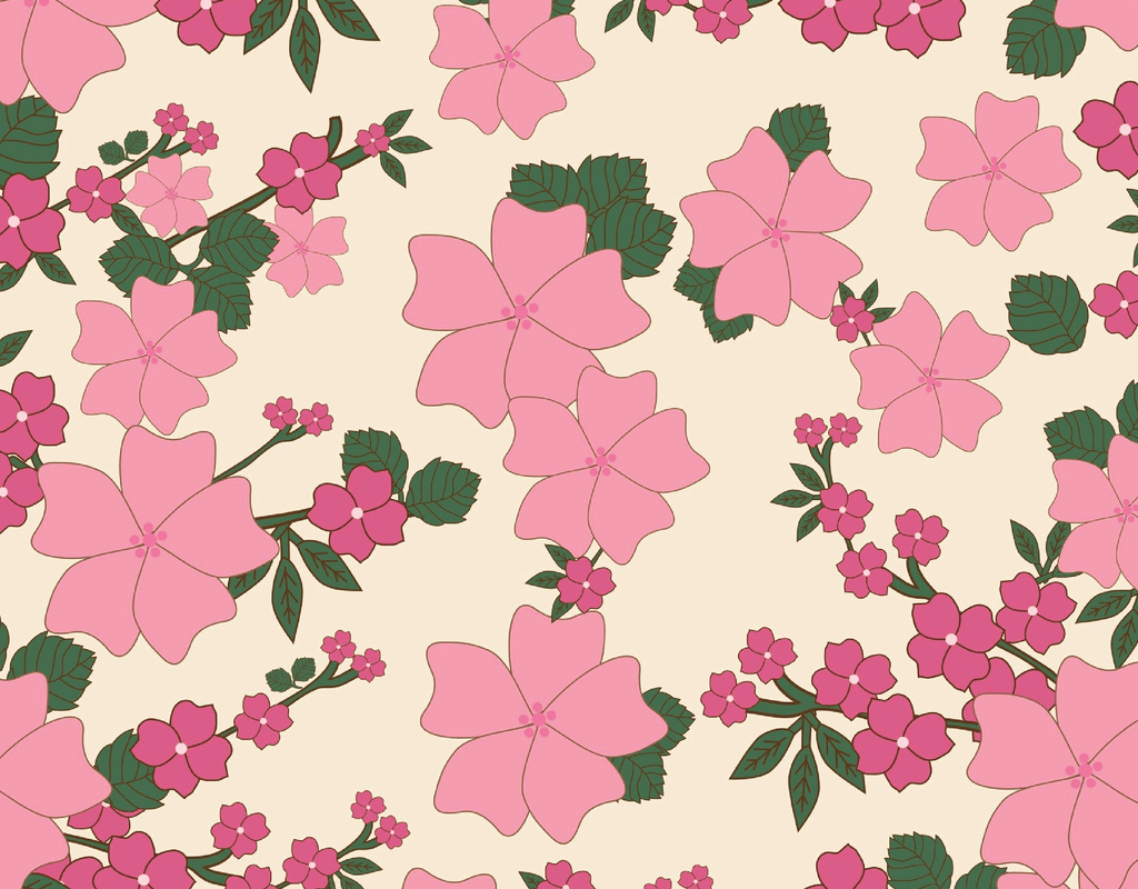 Pleated Floral (Japanese Pink) Pattern - Maskcott