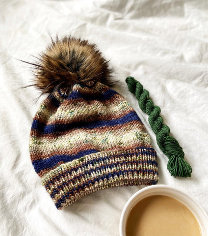 Classic Cuffed Hat by Purl Soho in Baker's Assistant, a blue and brown ombre colorway