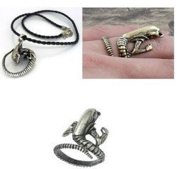 H R Giger Alien Necklace And Ring Set