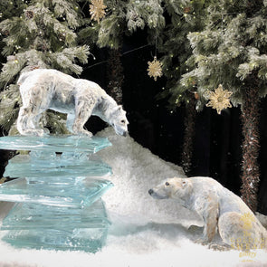 Large Polar Bears On Ice by Christine Cummings