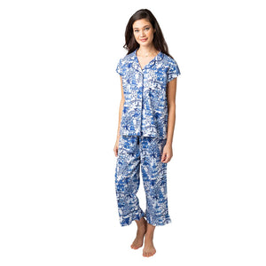 Pajamas - Garden Party Sateen Capri Pajama Set
