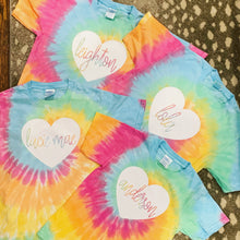 Load image into Gallery viewer, Tie Dye Short Sleeve T-Shirt (Youth) with heart design