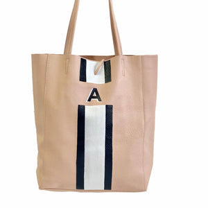 Leather Tote Sloane with Vertical Stripes (Four Week Delivery)