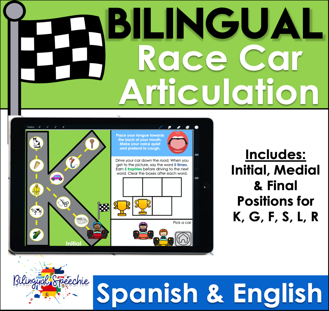 BOOM Cards | English & Spanish Race Car Articulation | K, G, F, S, L, R