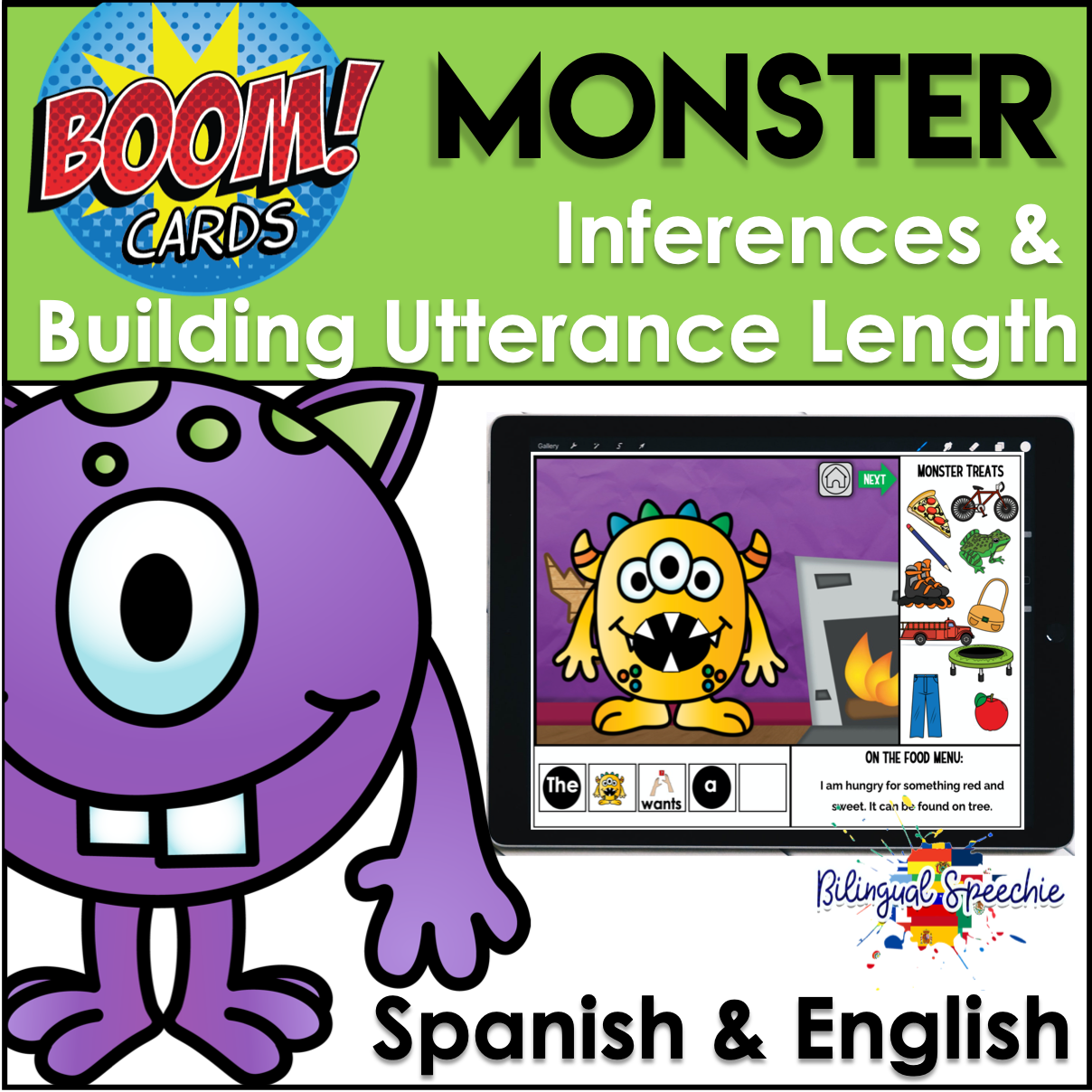 BOOM Cards | Monster Inferences & Building Utterance Length | Bilingual