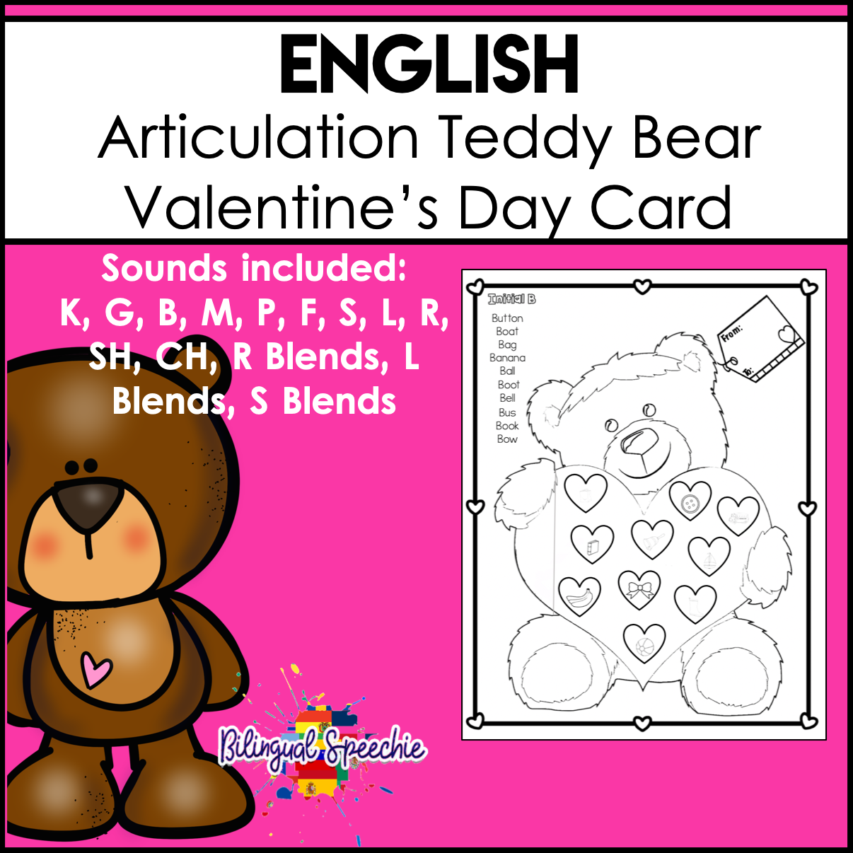 English Articulation | Teddy Bear Valentine's Day Card