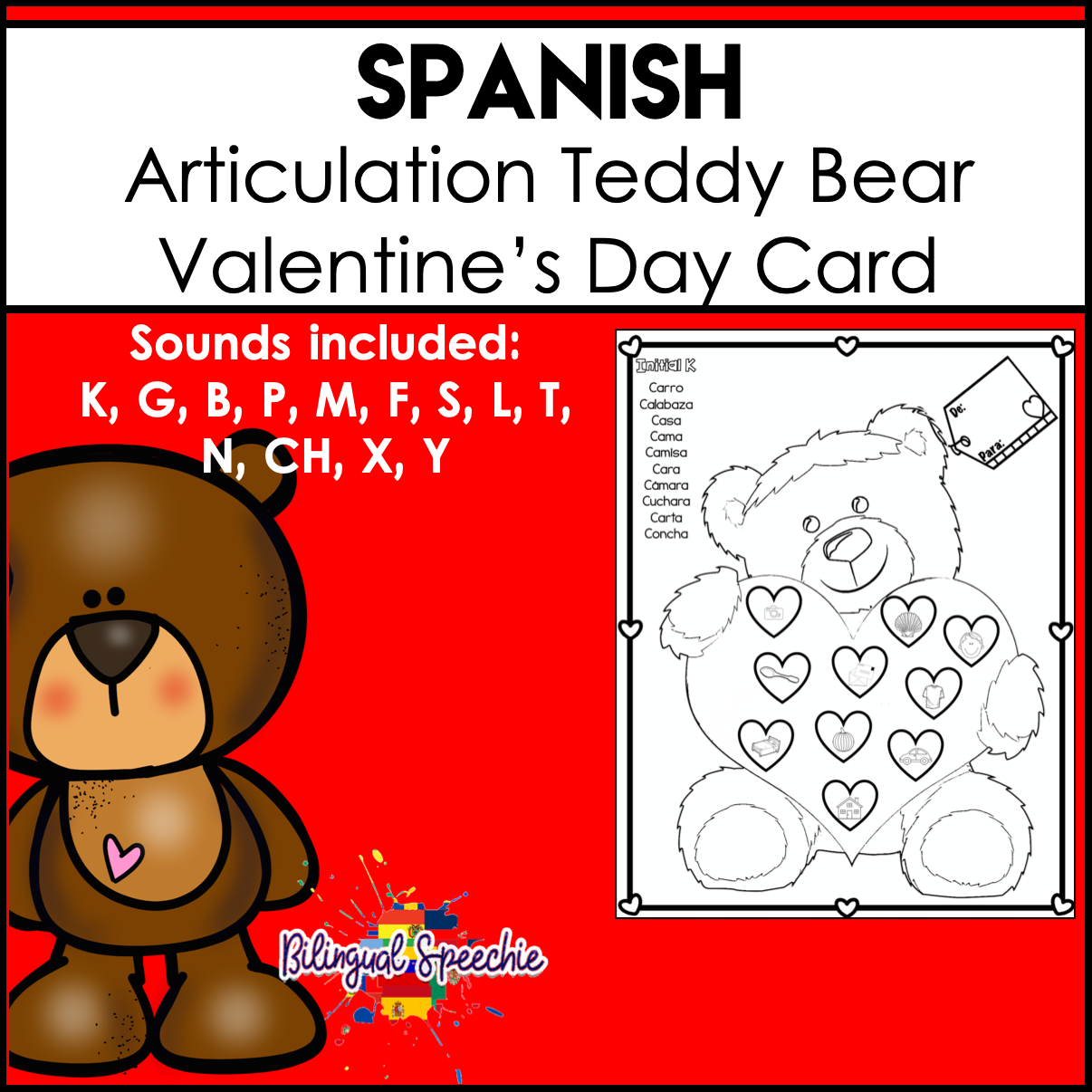 Spanish Articulation | Teddy Bear Valentine's Day Card