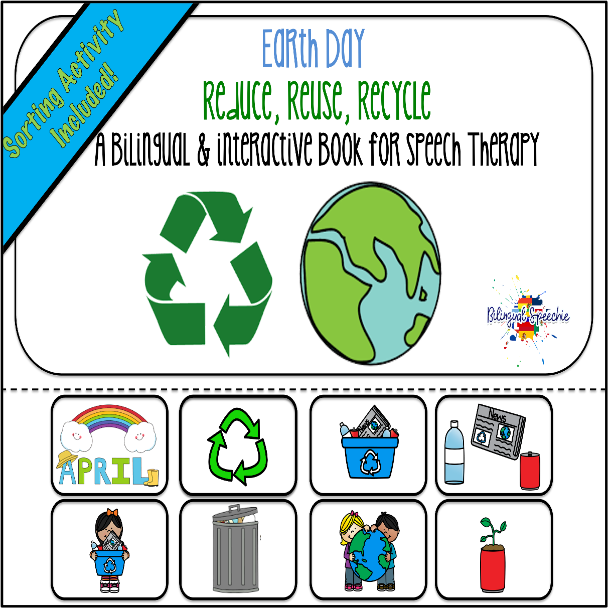 Earth Day & Recycling Bilingual Book for Speech Therapy