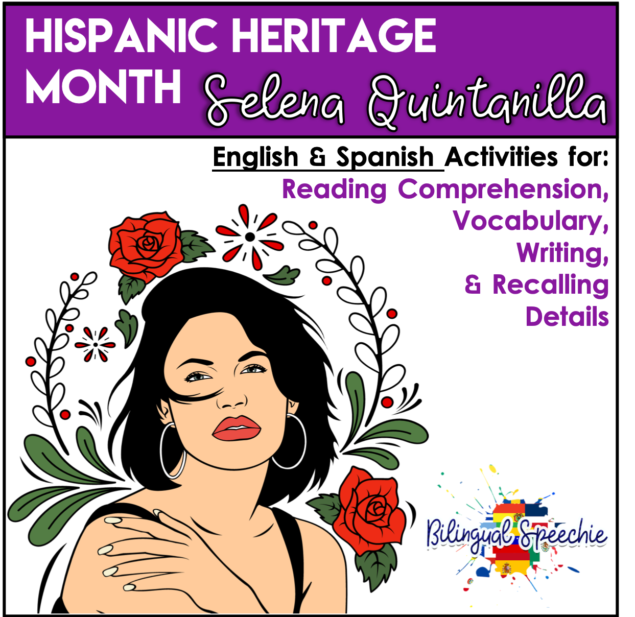 Hispanic Heritage Month | Selena Quintanilla | Editable Reading Comprehension