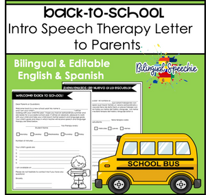 Back to School Editable Speech Therapy Letter to Parents | Bilingual