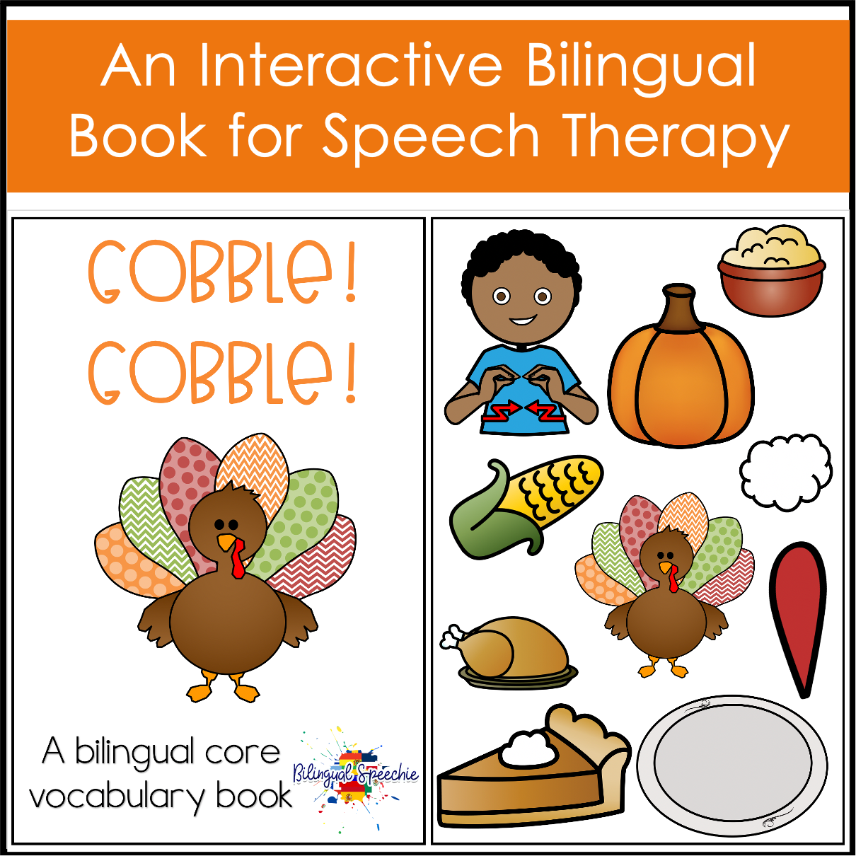 Thanksgiving Core Vocabulary Book | BILINGUAL