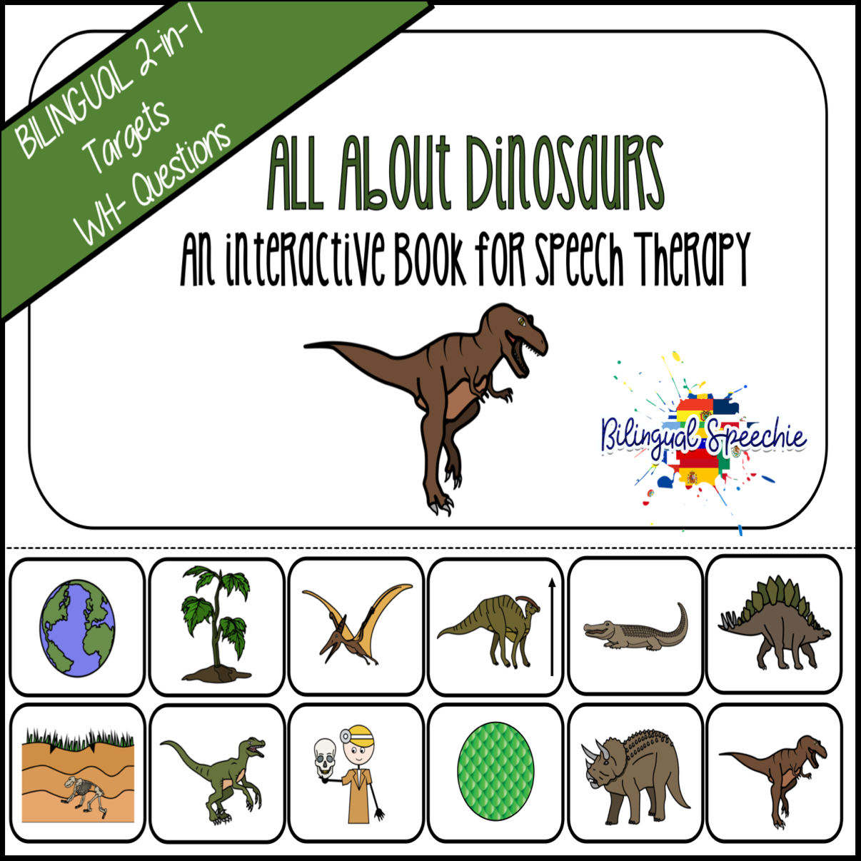 Bilingual Dinosaur Interactive Book | For WH- Questions