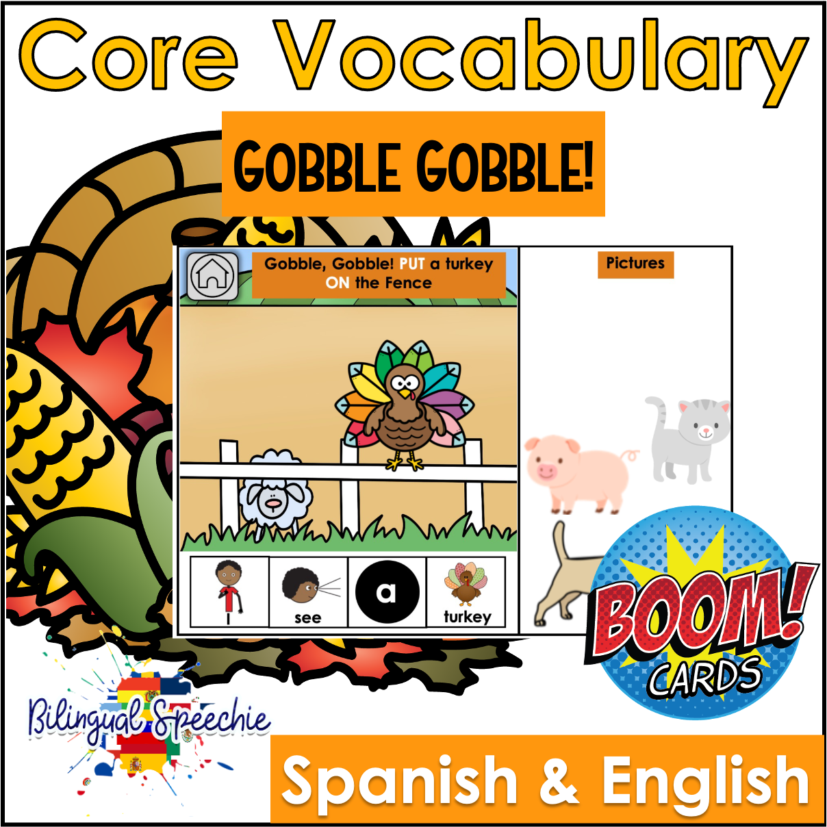 BOOM Cards | Thanksgiving Bilingual Core Vocabulary Book