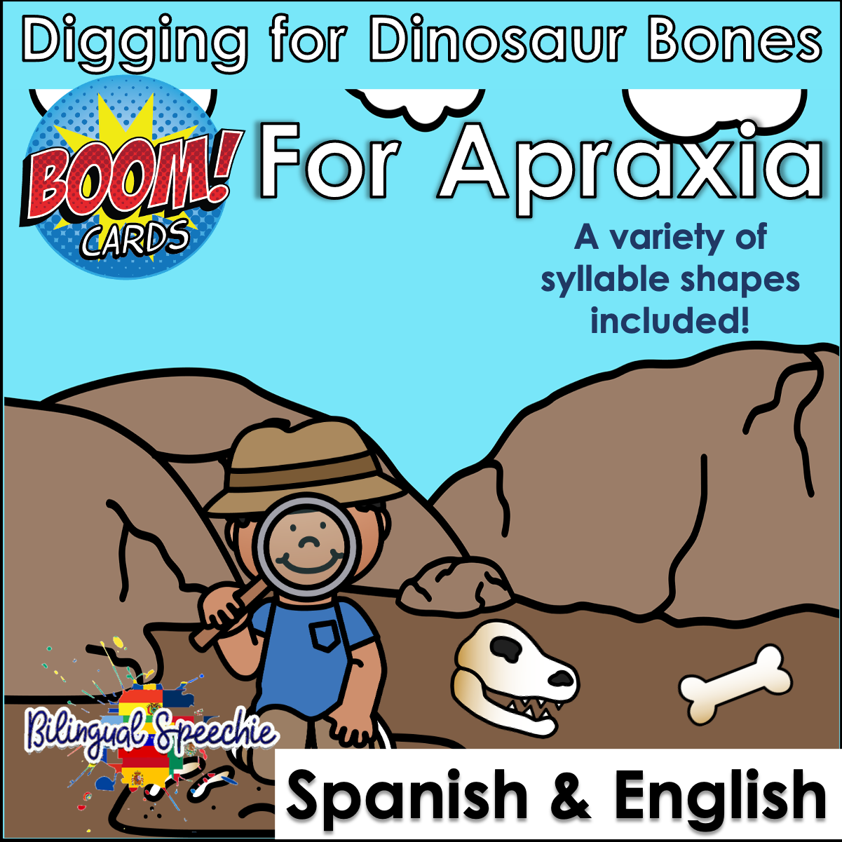 BOOM Cards | Bilingual | Apraxia | Digging for Dinosaur Bones