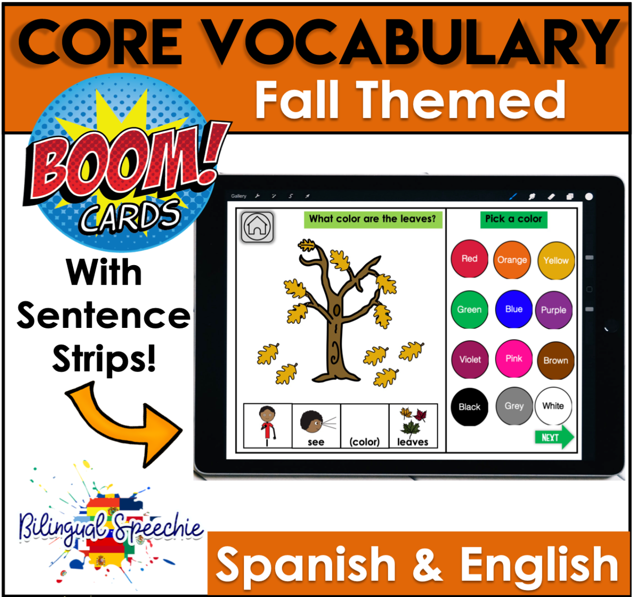 Fall Themed | Spanish & English Core Vocabulary | SEE