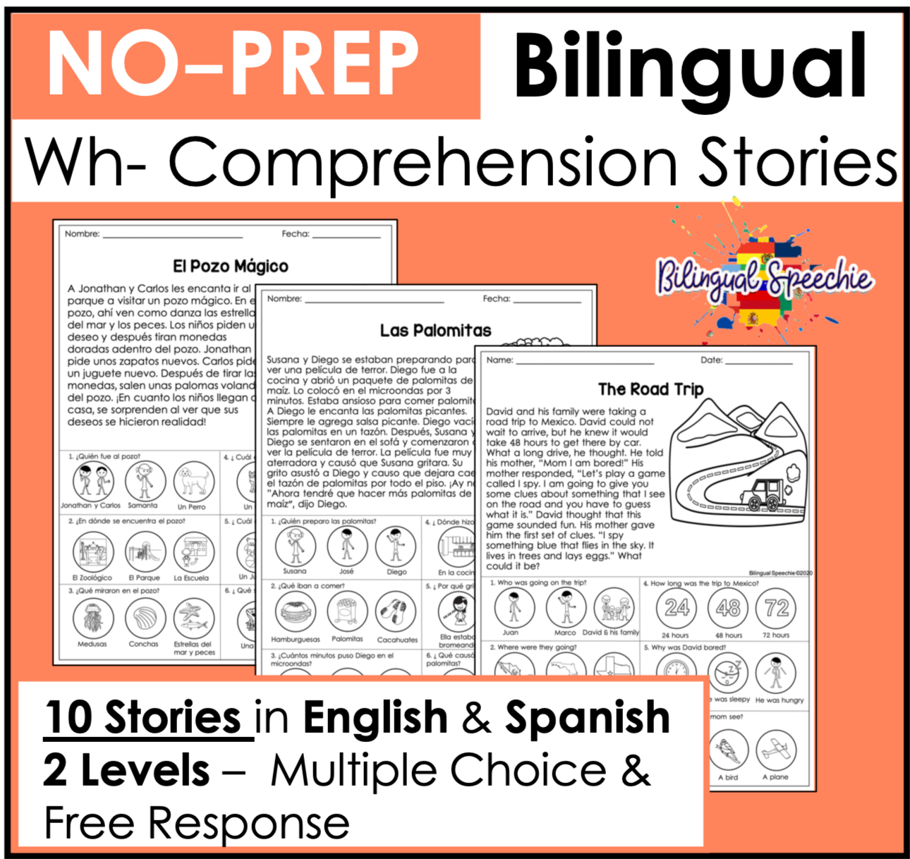 Bilingual Wh- Comprehension Stories | English & Spanish
