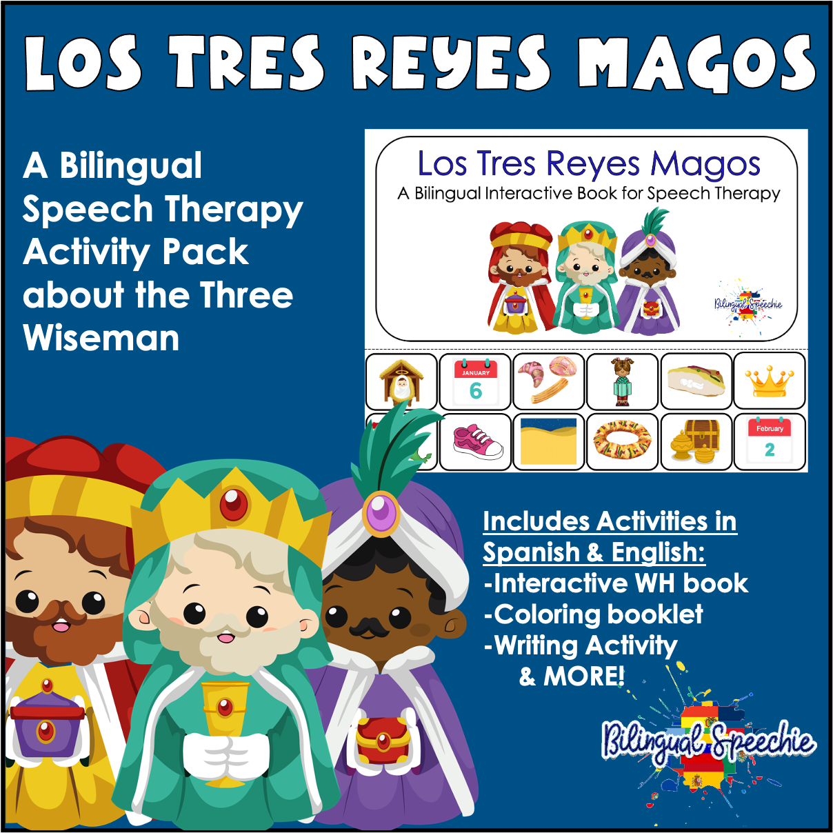 Three Kings Day | Bilingual Activity Pack for Speech Therapy