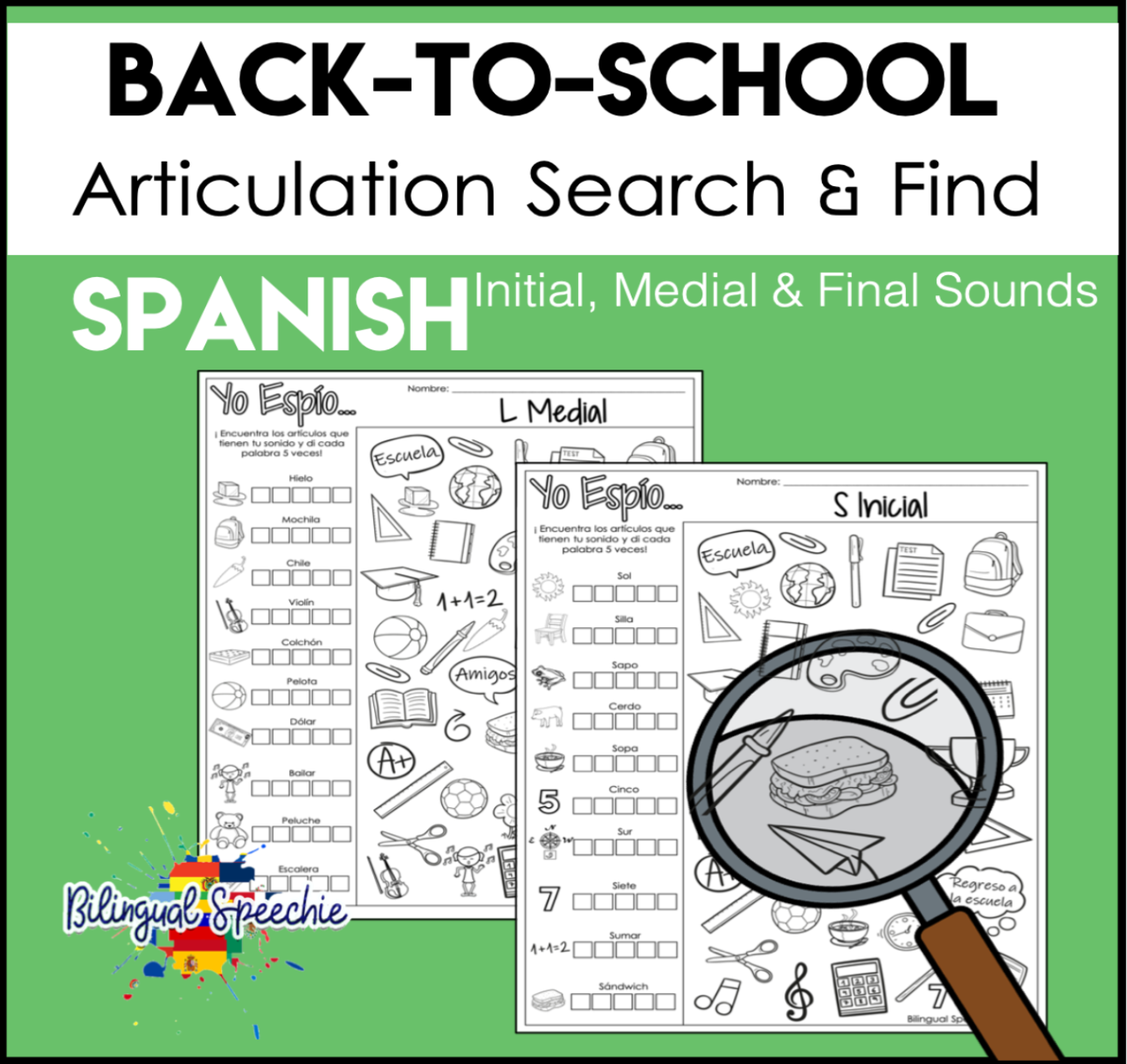 Search & Find | Back to School Spanish Articulation