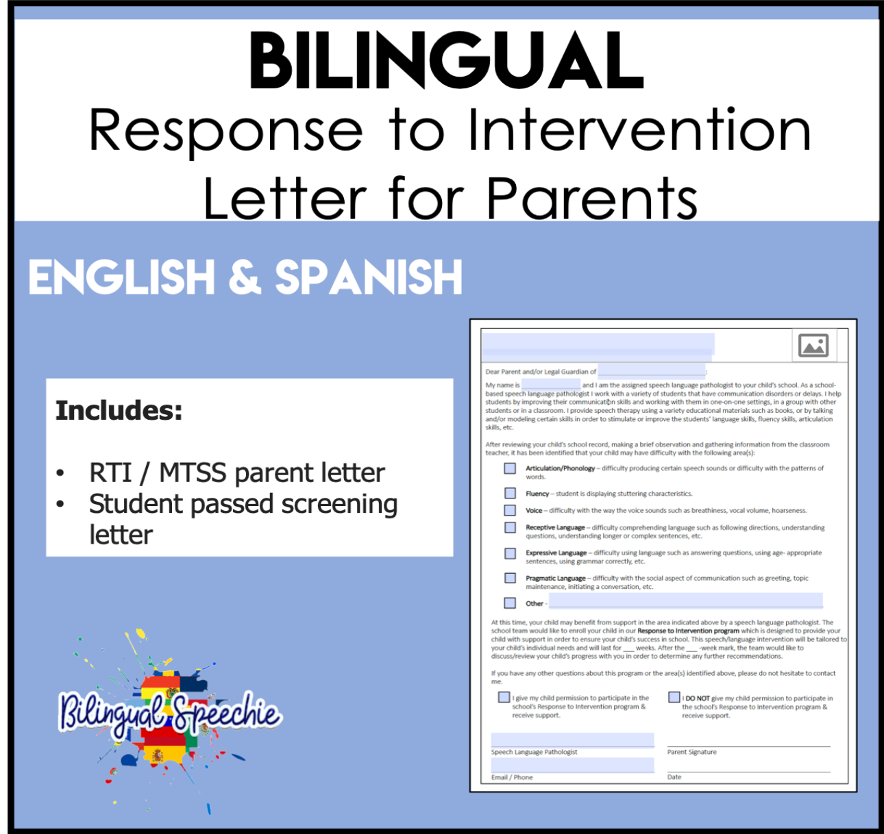 Response to Intervention Parent Letter | Bilingual