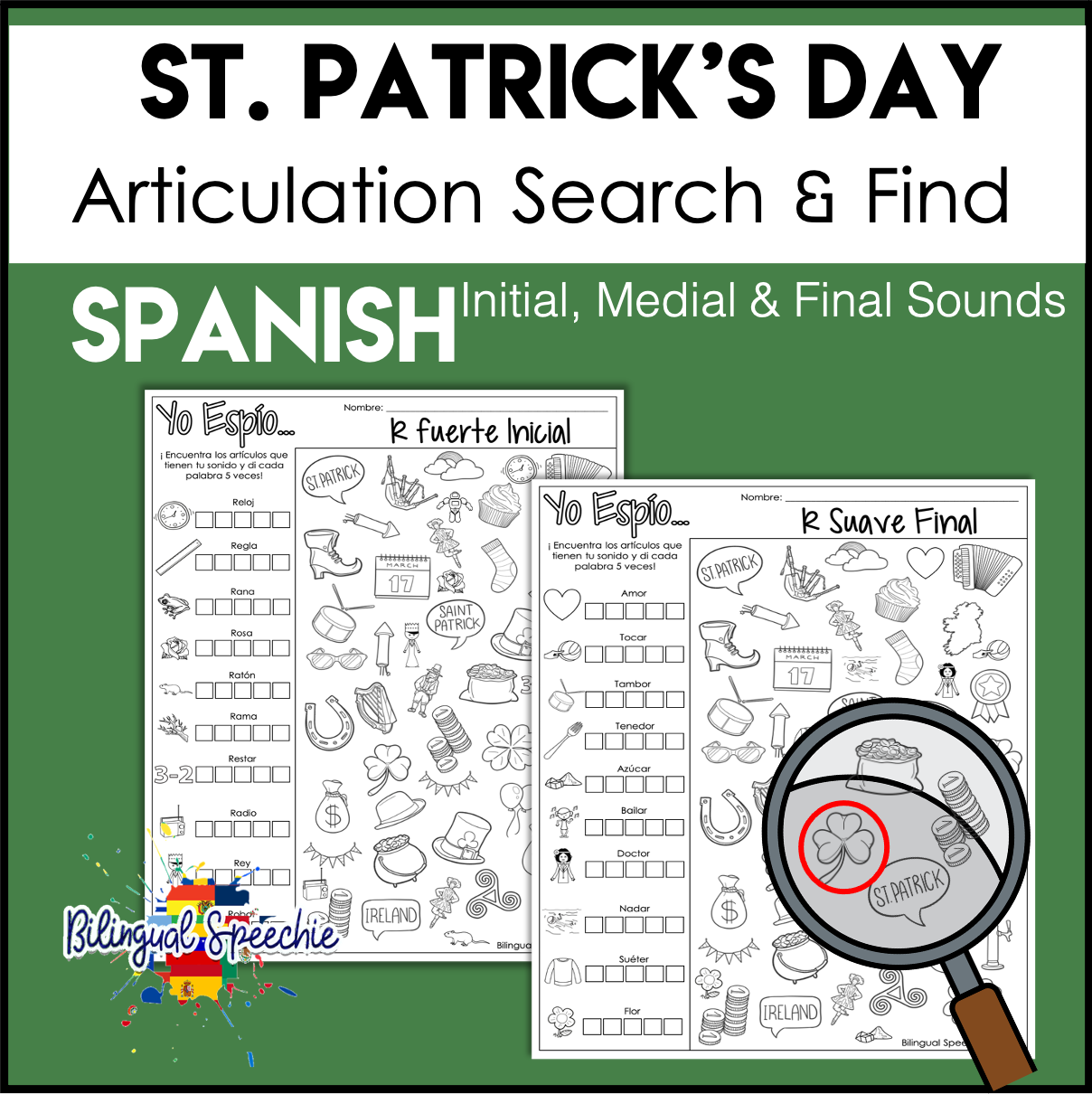 St. Patrick's Day Search & Find Articulation | Spanish