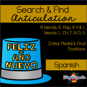 Search & Find Articulation | Spanish | New Year Themed